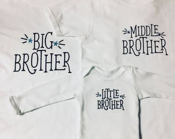 Custom siblings embroidered t shirt set