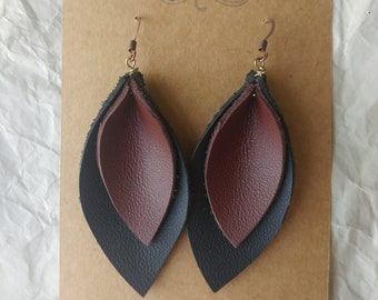 Leather Leaf Earrings ~ Black/Brown
