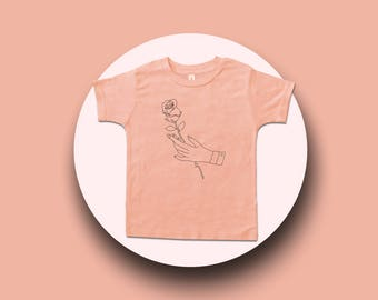 Rose In Hand - Traditional or Tattoo art- Kids Clothes - Graphic Tee - Girls or Boys Clothing - Baby, Toddler or Youth T Shirt