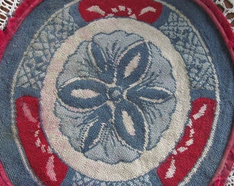 Primitive Blue Burgundy Needlepoint Pillow Rug Chair Pad needlepoint rug Vintage Needlepoint Primitive Red white and Blue Decor