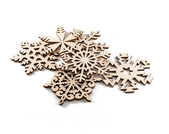 Set of 6 wood snowflakes, Christmas ornament, Wood Christmas decorations, Laser Cut Snowflake, Wooden snowflake ornament, Unique decoration