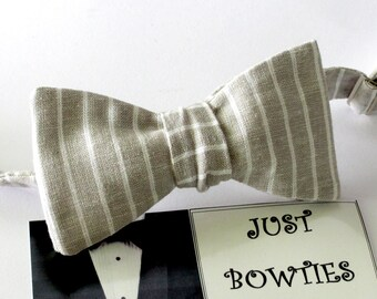 Bowtie - Light Grey striped linen bowtie -  classic self tie bowtie