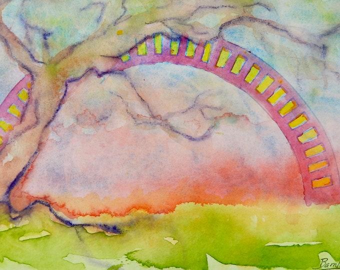 "Notecards of watercolor painting of ""Bridge"""