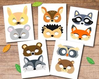 Woodland masks, printable woodland masks, KID size masks, animal masks, printable masks, woodland printables, woodland party, activity