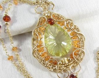 Golden Sunrise Necklace - 14k Gold Fill Pendant with Lemon Quartz and Hessonite Garnet