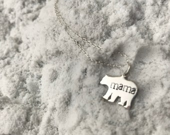Mama Bear Necklace in Sterling Silver