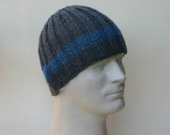 Men's Beanie Charcoal Grey Cadet Blue Ribbed Knit Hat Toque Warm Winter Merino Wool