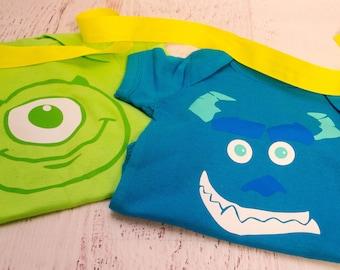Custom Twins Onesies - Monster's Inc. inspired