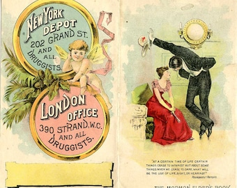 Mormon Elder's Book, Advertising, Marital Bliss Product, Grand St., NYC, c.1882, Outer Front&Verso, No Inner Pamphlet Contents, Very Rare