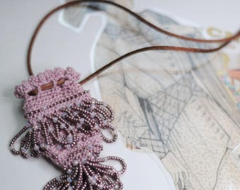 Vintage Inspired Amulet Bag Necklace Bead Crochet in Mauve
