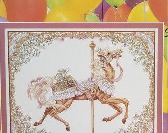 Counted cross stitch pattern | Teresa Wentzler | Spring Carousel Horse | Fantasy cross stitch pattern