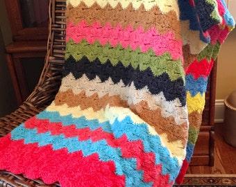 Crochet Afghan - Multi-Color Stripe Throw - Crochet Blanket - Soft Warm Throw Blanket - Colorful