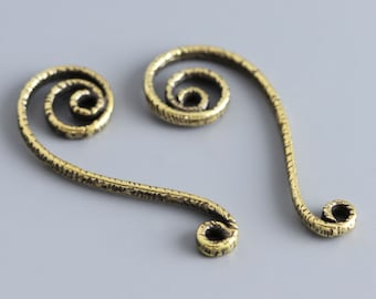 Twist bend curved line handmade jewelry findings Spacers set L2632. Brass jewelry sweep, connector, spacer. Designed and made by Anna Bronze