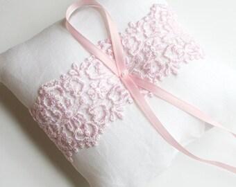 Ring Pillow, Pink Lace Pillow, Ring Bearer Pillow, Ring Cushion