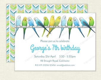 Budgies Invitation - personalised printable birthday party invite, hand drawn budgerigar, pet bird design - Digital invite IN010
