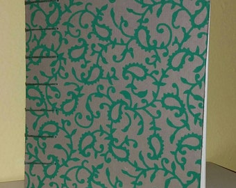 Green Paisley Tan Journal/Sketchbook with Coptic Binding (free shipping)