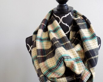 Color Accented Taupe Plaid Infinity Scarf Womens Plaid Circle Scarves Girls Fall Fashion Scarf Chunky Fall Plaid Infinity Scarf Beige Plaid