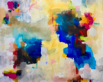 Large Abstract Original Painting- Sunday Sunshine 48 x 60
