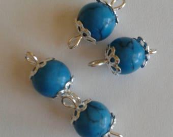 5 connectors 8mm black NET Royal blue glass beads