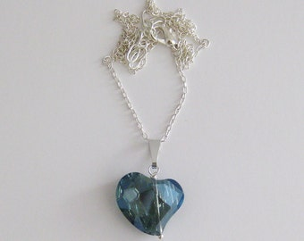 Asymmetrical Blue Crystal Heart Necklace