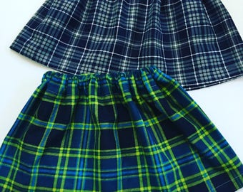Girls Flannel Plaid Skirts, Flannel Skirts For Girls, Plaid Skirts For Girls, Toddlers Plaid Skirts, Big Girl Plaid Flannel Skirts