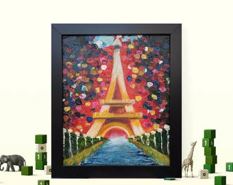 """Painting 12"""" Eiffel Tower Abstract Painting on canvas, Original & HandMade Oil painting ,By Ruchika Gupta"""
