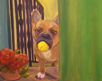 PLAY BALL,  12 x 16 Canvas Print of french bulldog by Lesley Mills from Merlin's Garden Free Domestic Shipping