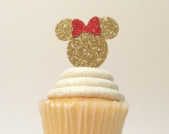 Red Minnie Mouse cupcake toppers-pink and gold- Minnie Mouse toppers- smash cake-photo prop-baking supplies- 12 cupcake toppers-Minnie