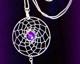 AMAZING AMETHYST  Dreamcatcher with amethyst, Sterling silver, dream catcher necklace, silver dreamcatcher necklace, Amethyst silver