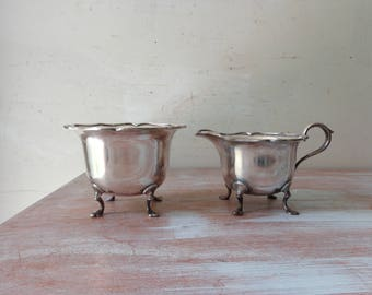 VIntage Silverplated Creamer and Sugar Bowl - Made in England
