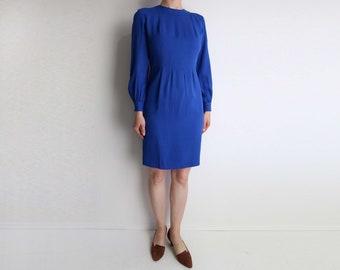 VINTAGE Dress 1990s Blue Dress Short Longsleeve Extra Small