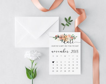 Calendar Save the Date Cards | Floral Wedding Save the Dates | Printed Wedding Invitations | Engagement Announcement | Tara Collection