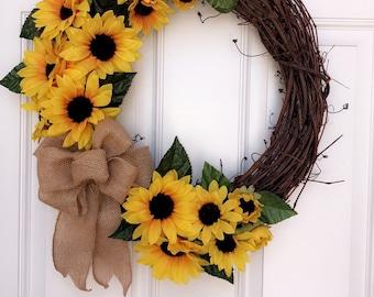 Handmade Silk Sunflower Wreath