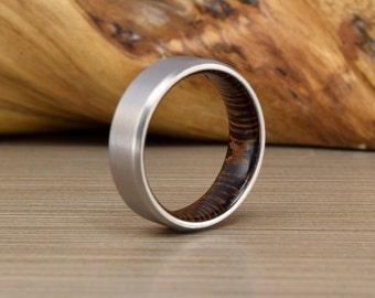 Titanium and African Wenge - Men's Wedding Band - Wedding Ring - Men's Wedding Ring - Women's Wedding Ring - Men's Ring -Unique Wedding Band