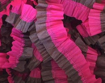 Bombay Pink and Brown Ruffled Crepe Paper Streamers Garland - 36 Feet - Western - Paper Party Decor Supplies