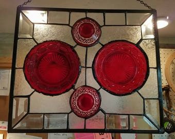 Scarlet red antique dishes/Frosted clear panel