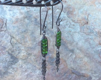 Chrome DIOPSIDE Earrings, Sterling silver tassel earrings, woven, handmade jewelry by Angry Hair Jewelry