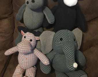 Memory Keepsake Cow, Hippo, Elephant or Moose made from clothing of a loved one