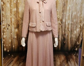Vintage, 80's/90s, pink marled suit skirt, Large