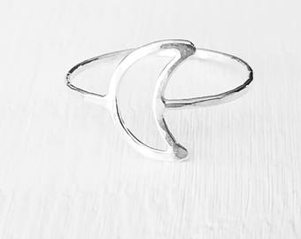 Silver Moon Ring Crescent Moon Stacking Ring Sterling Silver