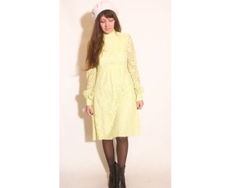 Vintage 1960s Empire Waist Lime Green Yellow Lace Sheer Sleeved Turtleneck Dress size M