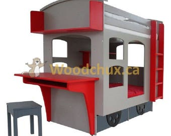 CABOOSE themed Bunk bed with Study Desk, Sliding Keyboard Drawer, Trundle Drawer OR 3 Storage drawers in the Base.  Built-in Shelving