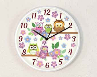 Curious Owls Clock   Children's Wall Clock   Nursery Decor   Unique Wall Clock   Analog Clock   Animal Clock   Woodland Nursery   Kids Clock