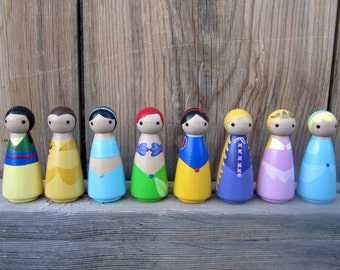 """Princess - SET OF 8 - Wooden Hand Painted - 3.5"""""""