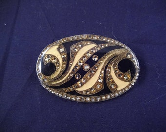 Art Nouveau Oval Brooch, Trombone Clasp, Browns and Yellows, Clear Top Coat Covered, Great Sparkle
