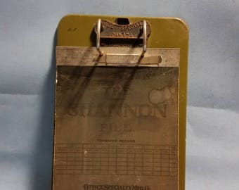 Vintage Office Metal Clipboard by Office Specialty Canada with The Original Shannon Lock Arch and Cardboard File