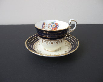AYNSLEY Bone China DORCHESTER Cobalt Gold Bands Demi Tasse & Saucer Set