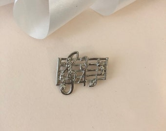 Music Brooch - Music Notes - Music Note Brooch - Music Pin - Treble Clef Brooch - Treble Clef - Silver Tone - Music Lover Gift - Vintage