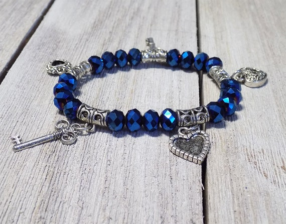 Blue Beaded Charm Bracelet,key charm,heart charm,blue beads,stretch bracelet,beaded bracelet