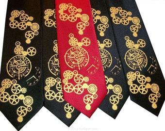 3 mens neckties Clock Works Steampunk design, custom colors hand print designs by RokGear